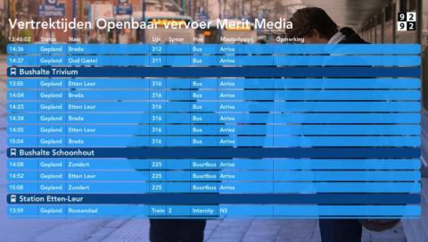 Openbaar vervoer vertrektijden 9292 op narrowcasting schermen